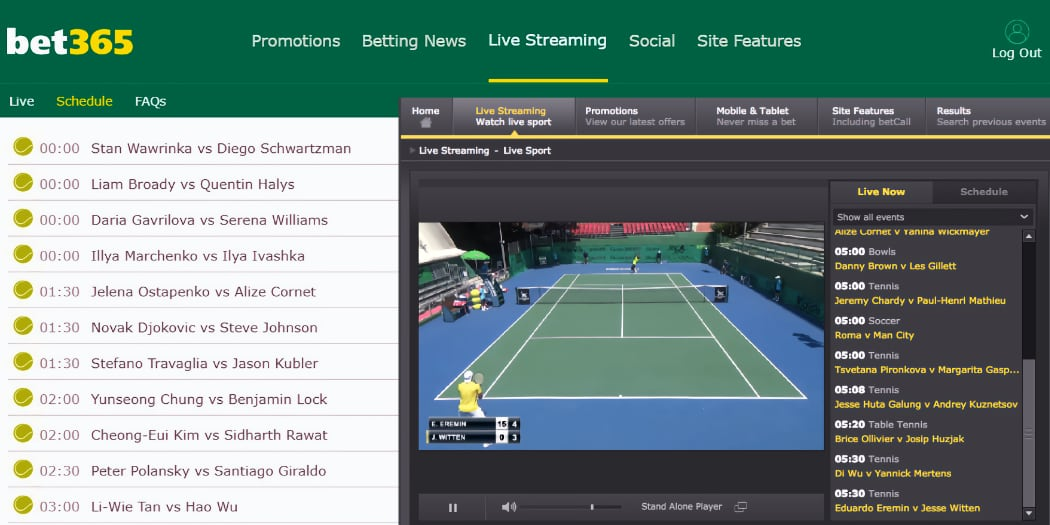 Where to find live tennis streaming on Bet365 website after login.